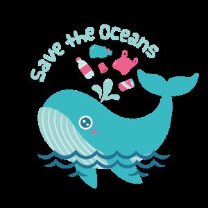 Niedliche Walbitten, um die Ozeane zu retten