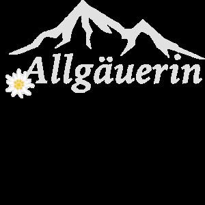 Allgäuerin mit Bergen und Edelweiss Design