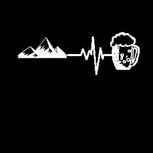 Berge Bier T-Shirt Geschenkidee Alm Gipfel Wandern