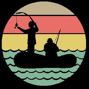 Retro Fischer auf Boot