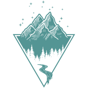 Wildnis Draußen Berge Wandern Dreieck Fluss Wald