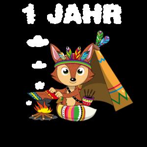 1 Jahr Jungen 1. Geburtstag Fuchs Indianer erste