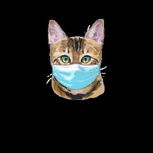 Katze mit Mundschutz Corona Maske Gesichtsmaske