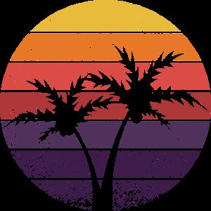 Retro Sonne Palmen