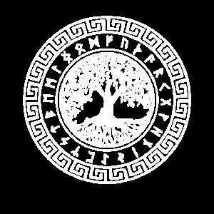 Yggdrasil Baum des Lebens mit nordischen Rune Rad