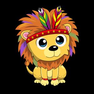 Baby Löwe Babylöwe Comic Lion Indianer Geschenk