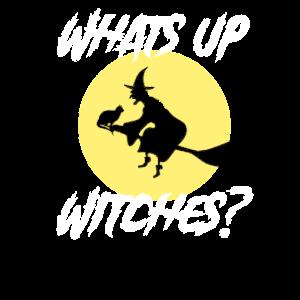 Hexe Besen Katze Vollmond - Whats Up Witches