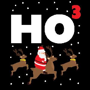 HO HO HO Weihnachtsmann Rehntier Rudolf X-Mas Gift