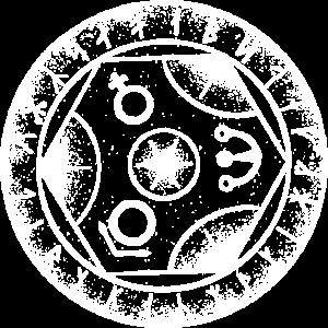 Alchemie mit Wikingeralphabet weiß