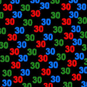 buntes zahlenmuster 30, Geburtstag 30, schenken 30