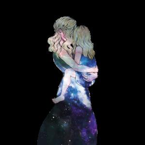 Weltraum Mutter Tochter Art Geschenk