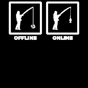 Online/ Offline Fischen Angeln Rute Wortwitz