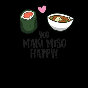 You Maki Miso Happy Sushi Maki Kawaii Japan Maki