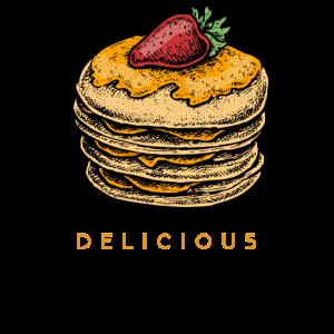 Leckere Pfannkuchen Pancakes mit Sirup und Erdbeer