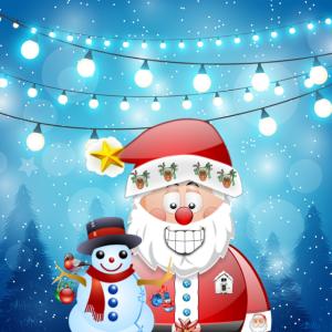Weihnachten Santa Scene Schneemann & Girlanden Lichter