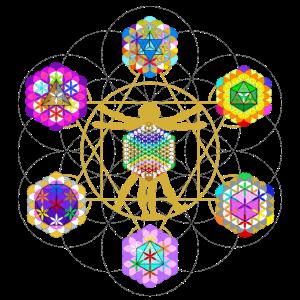 vitruvianischer Chakramensch im Kristallkörper