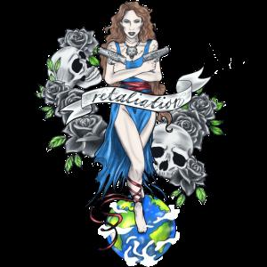 Welt Totenkopf Frau Bunt Rosen Kleid Waffen Stil