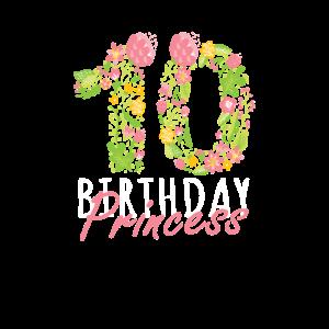 10. Geburtstag Prinzessin 10 Jahre altes Mädchen Blumen