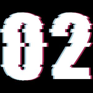 02 Zwei 2 Two Zahl Effekt Verzerrt Nummer