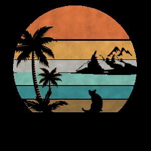 Retro Katze Palmenstrand Vintage Sunset