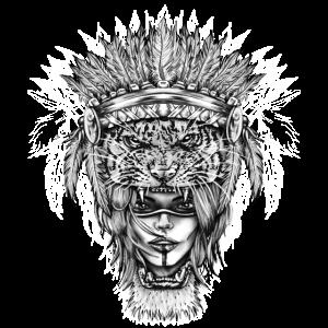 Tiger Girl Animal Tribal Vintage Symbol Tattoo