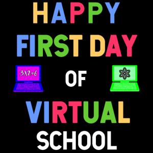 Glücklicher erster Tag der virtuellen Schule