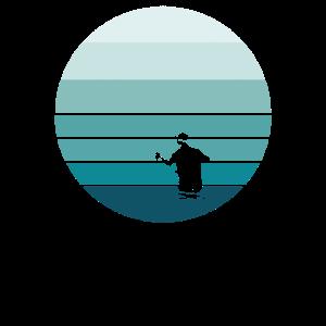 Fly Fisherman Vintage Style gestreifter Sonnenuntergang
