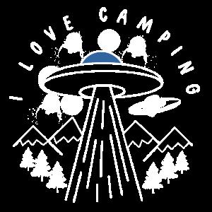 Alien Ufo I love Camping Zeichnung Grafik Cool