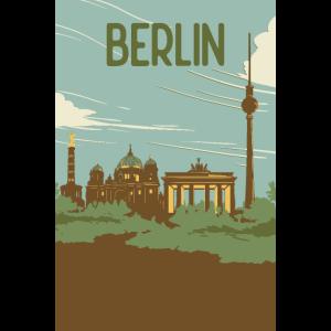 Berlin als Retro Vintage Kunst Poster