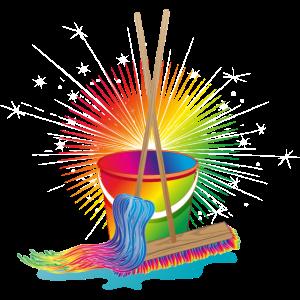 Wischmop,Besen und Eimer in Regenbogenfarben