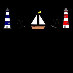 Maritim Leuchtturm Segelboot Anker