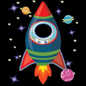 Rakete mit eigenem Bild im Astronauten