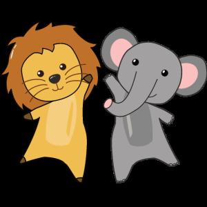 Löwe Elefant Tierfreunde süße Tiere für Kinder