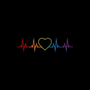 LGBT Regenbogen Herzschlag Gay Pride Gesichtsmaske
