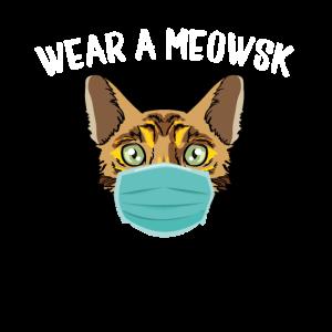 Tragen Sie eine Meowsk Cat Face Mask, eine lustige Bengal Pro Maske