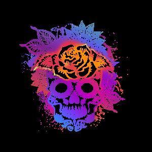 Bunter Sugar Skull Mandala und Blumen