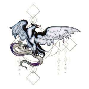 Eleganter Adler mit Schlange