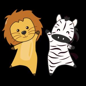 Zebra Löwe Zootiere lustige Tiere für Tierfreunde