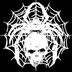 Halloween Totenkopf im Spinnennetz mit Spinne