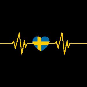 Schweden Flagge Herzschlag EKG Herz Geschenk