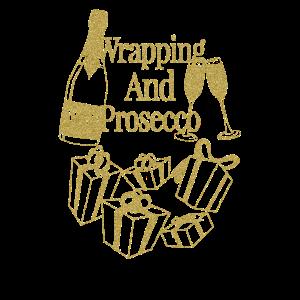 Weihnachtsgeschenk WAP Verpackung und Prosecco Wein Weihnachten