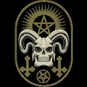 Skull Antichrist Pentagramm Horror Halloween Kreuz