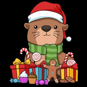Weihnachten Otter Geschenk Otter Tshirt Seeotter
