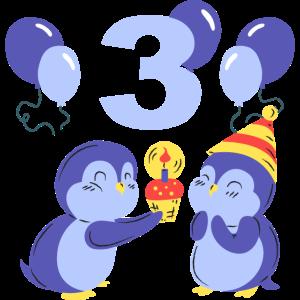 Zwei süße Pinguine feiern den dritten Geburtstag