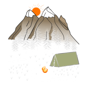 Berge Wald Zelt Lagerfeuer
