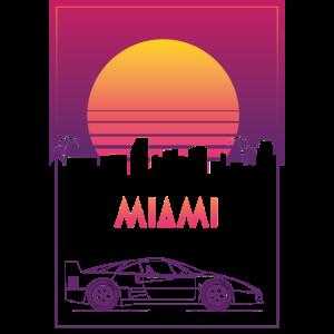 Miami Sunset Sport Car Retro Vibe