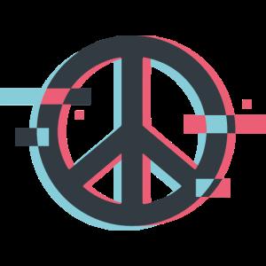 Peace sign Peacezeichen Glitch 3D
