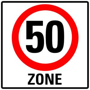 Schild 50 Zone
