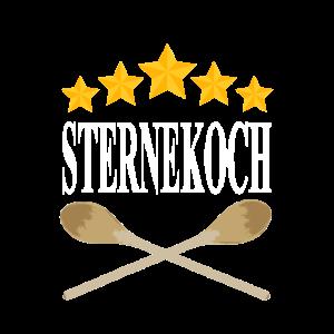 Sternekoch Schrift weiß Sterne gelb Kochlöffel