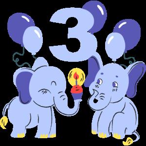 Süße Elefanten die den dritten Geburtstag feiern